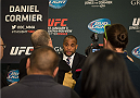 LAS VEGAS, NEVADA - JANUARY 01:  Daniel Cormier speaks to the media during the UFC 182 Media Day at the MGM Grand Hotel and Casino on January 1, 2015 in Las Vegas, Nevada. (Photo by Brandon Magnus/Zuffa LLC/Zuffa LLC via Getty Images)