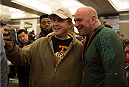 LAS VEGAS, NEVADA - JANUARY 01:  UFC president Dana White takes pictures with fans during the UFC 182 Media Day at the MGM Grand Hotel and Casino on January 1, 2015 in Las Vegas, Nevada. (Photo by Brandon Magnus/Zuffa LLC/Zuffa LLC via Getty Images)