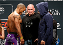 LAS VEGAS, NV - JANUARY 02:  (L-R) Opponents Hector Lombard of Cuba and Josh Burkman face off during the UFC 182 weigh-in event at the MGM Grand Conference Center on January 2, 2015 in Las Vegas, Nevada. (Photo by Josh Hedges/Zuffa LLC/Zuffa LLC via Getty Images)