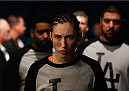 LAS VEGAS, NV - JANUARY 03:  Alexis Dufresne prepares to enter the Octagon before facing Marion Reneau in their women's bantamweight bout during the UFC 182 event on January 3, 2015 in Las Vegas, Nevada.  (Photo by Josh Hedges/Zuffa LLC/Zuffa LLC via Getty Images)