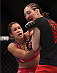 LAS VEGAS, NV - JANUARY 03:  (L) Marion Reneau punches Alexis Dufresne in their women's bantamweight bout during the UFC 182 event on January 3, 2015 in Las Vegas, Nevada.  (Photo by Jeff Bottari/Zuffa LLC/Zuffa LLC via Getty Images)