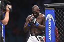 LAS VEGAS, NV - JANUARY 03:  Jared Cannonier enters the Octagon in his heavyweight bout against Shawn Jordan during the UFC 182 event at the MGM Grand Garden Arena on January 3, 2015 in Las Vegas, Nevada.  (Photo by Jeff Bottari/Zuffa LLC/Zuffa LLC via Getty Images)