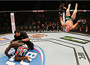 LAS VEGAS, NV - JANUARY 03:  (R-L) Shawn Jordan celebrates his knockout win over Jared Cannonier in their heavyweight bout during the UFC 182 event at the MGM Grand Garden Arena on January 3, 2015 in Las Vegas, Nevada.  (Photo by Josh Hedges/Zuffa LLC/Zuffa LLC via Getty Images)