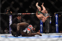LAS VEGAS, NV - JANUARY 03:  (R) Shawn Jordan celebrates his knockout win over Jared Cannonier in their heavyweight bout during the UFC 182 event at the MGM Grand Garden Arena on January 3, 2015 in Las Vegas, Nevada.  (Photo by Jeff Bottari/Zuffa LLC/Zuffa LLC via Getty Images)