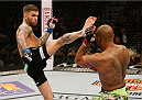 LAS VEGAS, NV - JANUARY 03:  (L-R) Cody Garbrandt kicks Marcus Brimage in their bantamweight bout during the UFC 182 event at the MGM Grand Garden Arena on January 3, 2015 in Las Vegas, Nevada.  (Photo by Josh Hedges/Zuffa LLC/Zuffa LLC via Getty Images)