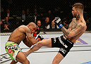 LAS VEGAS, NV - JANUARY 03:  (R-L) Cody Garbrandt kickss Marcus Brimage in their bantamweight bout during the UFC 182 event at the MGM Grand Garden Arena on January 3, 2015 in Las Vegas, Nevada.  (Photo by Josh Hedges/Zuffa LLC/Zuffa LLC via Getty Images)