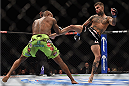LAS VEGAS, NV - JANUARY 03:  (R) Cody Garbrandt kicks Marcus Brimage in their bantamweight bout during the UFC 182 event at the MGM Grand Garden Arena on January 3, 2015 in Las Vegas, Nevada.  (Photo by Jeff Bottari/Zuffa LLC/Zuffa LLC via Getty Images)