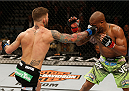 LAS VEGAS, NV - JANUARY 03:  (L-R) Cody Garbrandt punches Marcus Brimage in their bantamweight bout during the UFC 182 event at the MGM Grand Garden Arena on January 3, 2015 in Las Vegas, Nevada.  (Photo by Josh Hedges/Zuffa LLC/Zuffa LLC via Getty Images)