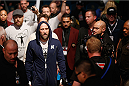 LAS VEGAS, NV - JANUARY 03:  Josh Burkman enters the arena for his welterweight bout against Hector Lombard during the UFC 182 event on at the MGM Grand Garden Arena January 3, 2015 in Las Vegas, Nevada.  (Photo by Josh Hedges/Zuffa LLC/Zuffa LLC via Getty Images)