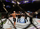 LAS VEGAS, NV - JANUARY 03:  Josh Burkman enters the Octagon in his welterweight bout against Hector Lombard during the UFC 182 event on at the MGM Grand Garden Arena January 3, 2015 in Las Vegas, Nevada.  (Photo by Josh Hedges/Zuffa LLC/Zuffa LLC via Getty Images)