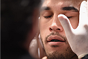 LAS VEGAS, NV - JANUARY 03:  Brad Tavares prepares for his middleweight bout against Nate Marquardt during the UFC 182 event at the MGM Grand Garden Arena on January 3, 2015 in Las Vegas, Nevada.  (Photo by Jeff Bottari/Zuffa LLC/Zuffa LLC via Getty Images)