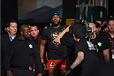 LAS VEGAS, NV - JANUARY 03:  Jon Jones enters the arena for his UFC light heavyweight championship bout against Daniel Cormier during the UFC 182 event at the MGM Grand Garden Arena on January 3, 2015 in Las Vegas, Nevada.  (Photo by Jeff Bottari/Zuffa LLC/Zuffa LLC via Getty Images)