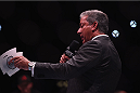 LAS VEGAS, NV - JANUARY 03:  UFC Announcer Bruce Buffer introduces the main event during the UFC 182 event at the MGM Grand Garden Arena on January 3, 2015 in Las Vegas, Nevada.  (Photo by Jeff Bottari/Zuffa LLC/Zuffa LLC via Getty Images)