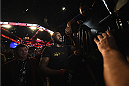 LAS VEGAS, NV - JANUARY 03:  Jon Jones exits the Octagon after defending his UFC light heavyweight championship belt against Daniel Cormier during the UFC 182 event at the MGM Grand Garden Arena on January 3, 2015 in Las Vegas, Nevada.  (Photo by Jeff Bottari/Zuffa LLC/Zuffa LLC via Getty Images)