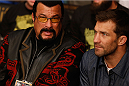 LAS VEGAS, NV - JANUARY 03:  Actor Steven Seagal and UFC middleweight Luke Rockhold attend UFC 182 event on at the MGM Grand Garden Arena January 3, 2015 in Las Vegas, Nevada.  (Photo by Josh Hedges/Zuffa LLC/Zuffa LLC via Getty Images)