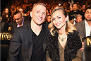 LAS VEGAS, NV - JANUARY 03:  UFC Bantamweight Champion T.J. Dillashaw (L) and wife Rebecca attend UFC 182 event at the MGM Grand Garden Arena on January 3, 2015 in Las Vegas, Nevada.  (Photo by Jeff Bottari/Zuffa LLC/Zuffa LLC via Getty Images)