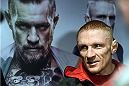 BOSTON, MA - JANUARY 15:  UFC featherweight Dennis Siver of Germany speaks to the media after an open training session at UFC Gym on January 15, 2015 in Boston, Massachusetts. (Photo by Jeff Bottari/Zuffa LLC/Zuffa LLC via Getty Images)