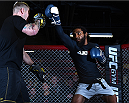 BOSTON, MA - JANUARY 15:  UFC lightweight Benson 'Smooth' Henderson (R) holds an open workout session for the media and fans at UFC Gym on January 15, 2015 in Boston, Massachusetts. (Photo by Jeff Bottari/Zuffa LLC/Zuffa LLC via Getty Images)