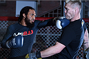 BOSTON, MA - JANUARY 15:  UFC lightweight Benson 'Smooth' Henderson (L) spars with Joe Riggs an open workout session for the media and fans at UFC Gym on January 15, 2015 in Boston, Massachusetts. (Photo by Jeff Bottari/Zuffa LLC/Zuffa LLC via Getty Images)