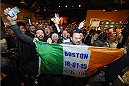 BOSTON, MA - JANUARY 16:  Fans interact with media and fighters at Faneuil Hall on January 16, 2015 in Boston, Massachusetts. (Photo by Jeff Bottari/Zuffa LLC/Zuffa LLC via Getty Images)