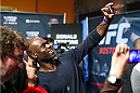 BOSTON, MA - JANUARY 16:  UFC middleweight Uriah Hall interacts with fans at Faneuil Hall on January 16, 2015 in Boston, Massachusetts. (Photo by Jeff Bottari/Zuffa LLC/Zuffa LLC via Getty Images)