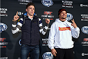 BOSTON, MA - JANUARY 16:  (L-R) UFC lightweights Norman Parke of Ireland faces off with opponent Gleison Tibau of Brazil at Faneuil Hall on January 16, 2015 in Boston, Massachusetts. (Photo by Jeff Bottari/Zuffa LLC/Zuffa LLC via Getty Images)