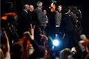 BOSTON, MA - JANUARY 17:  Paddy Holohan of Ireland interacts with the crowd holding an Irish flag as he walks on stage during the UFC Fight Night Boston weigh-in event at the Orpheum Theatre on January 17, 2015 in Boston, Massachusetts. (Photo by Jeff Bottari/Zuffa LLC/Zuffa LLC via Getty Images)