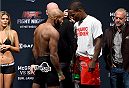 BOSTON, MA - JANUARY 17:  John Howard (L) and Lorenz Larkin face off during the UFC Fight Night Boston weigh-in event at the Orpheum Theatre on January 17, 2015 in Boston, Massachusetts. (Photo by Jeff Bottari/Zuffa LLC/Zuffa LLC via Getty Images)