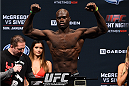 BOSTON, MA - JANUARY 17:  Uriah Hall steps on the scale during the UFC Fight Night Boston weigh-in event at the Orpheum Theatre on January 17, 2015 in Boston, Massachusetts. (Photo by Jeff Bottari/Zuffa LLC/Zuffa LLC via Getty Images)