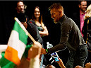 BOSTON, MA - JANUARY 17:  Conor 'The Notorious' McGregor of Ireland interacts with the crowd during the UFC Fight Night Boston weigh-in event at the Orpheum Theatre on January 17, 2015 in Boston, Massachusetts. (Photo by Jeff Bottari/Zuffa LLC/Zuffa LLC via Getty Images)