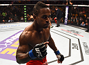 BOSTON, MA - JANUARY 18:  Lorenz Larkin reacts after defeating John Howard in their welterweight fight during the UFC Fight Night event at the TD Garden on January 18, 2015 in Boston, Massachusetts. (Photo by Jeff Bottari/Zuffa LLC/Zuffa LLC via Getty Images)