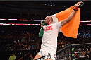BOSTON, MA - JANUARY 18: Cathal Pendred reacts after defeating Sean Spencer in their welterweight fight during the UFC Fight Night event at the TD Garden on January 18, 2015 in Boston, Massachusetts. (Photo by Jeff Bottari/Zuffa LLC/Zuffa LLC via Getty Images)