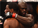 BOSTON, MA - JANUARY 18:  Uriah Hall and Ron Stallings embrace following their middleweight fight during the UFC Fight Night event at the TD Garden on January 18, 2015 in Boston, Massachusetts. (Photo by Jeff Bottari/Zuffa LLC/Zuffa LLC via Getty Images)