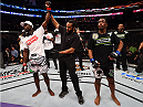BOSTON, MA - JANUARY 18:  Uriah Hall reacts after defeating Ron Stallings in their middleweight fight during the UFC Fight Night event at the TD Garden on January 18, 2015 in Boston, Massachusetts. (Photo by Jeff Bottari/Zuffa LLC/Zuffa LLC via Getty Images)