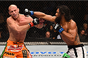 BOSTON, MA - JANUARY 18:  (R-L) Benson Henderson fights Donald Cerrone in their lightweight fight during the UFC Fight Night event at the TD Garden on January 18, 2015 in Boston, Massachusetts. (Photo by Jeff Bottari/Zuffa LLC/Zuffa LLC via Getty Images)