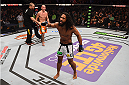 BOSTON, MA - JANUARY 18:  Benson Henderson reacts following a lightweight fight against Donald Cerrone during the UFC Fight Night event at the TD Garden on January 18, 2015 in Boston, Massachusetts. (Photo by Jeff Bottari/Zuffa LLC/Zuffa LLC via Getty Images)