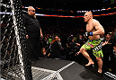 BOSTON, MA - JANUARY 18:  Dennis Siver of Germany enters the Octagon before a featherweight fight against Conor McGregor of Ireland during the UFC Fight Night event at the TD Garden on January 18, 2015 in Boston, Massachusetts. (Photo by Jeff Bottari/Zuffa LLC/Zuffa LLC via Getty Images)