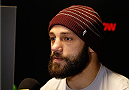STOCKHOLM, SWEDEN - JANUARY 21:  Sam Sicilia of the United States interacts with media during the UFC Ultimate Media Day at the Tele2 Arena on January 21, 2015 in Stockholm, Sweden. (Photo by Josh Hedges/Zuffa LLC/Zuffa LLC via Getty Images)
