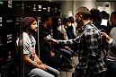 STOCKHOLM, SWEDEN - JANUARY 21:  A line of UFC fighters interact with members of the media during the UFC Ultimate Media Day at the Tele2 Arena on January 21, 2015 in Stockholm, Sweden. (Photo by Josh Hedges/Zuffa LLC/Zuffa LLC via Getty Images)