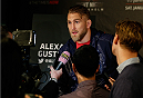 STOCKHOLM, SWEDEN - JANUARY 21:  Alexander Gustafsson of Sweden interacts with media during the UFC Ultimate Media Day at the Tele2 Arena on January 21, 2015 in Stockholm, Sweden. (Photo by Josh Hedges/Zuffa LLC/Zuffa LLC via Getty Images)