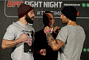 STOCKHOLM, SWEDEN - JANUARY 21:  (L-R) Opponents Sam Sicilia of the United States and Akira Corassani of Sweden face off during the UFC Ultimate Media Day at the Tele2 Arena on January 21, 2015 in Stockholm, Sweden. (Photo by Josh Hedges/Zuffa LLC/Zuffa LLC via Getty Images)