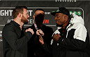 STOCKHOLM, SWEDEN - JANUARY 21:  (L-R) Opponents Ryan Bader of the United States and Phil Davis of the United States face off during the UFC Ultimate Media Day at the Tele2 Arena on January 21, 2015 in Stockholm, Sweden. (Photo by Josh Hedges/Zuffa LLC/Zuffa LLC via Getty Images)