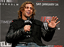 STOCKHOLM, SWEDEN - JANUARY 23:  Urijah Faber interacts with fans during a Q&A session before UFC Fight Night Weigh-ins at the Hovet Arena on January 23, 2015 in Stockholm, Sweden. (Photo by Josh Hedges/Zuffa LLC/Zuffa LLC via Getty Images)
