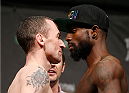 STOCKHOLM, SWEDEN - JANUARY 23:  (L-R) Opponents Neil Serry of Ireland and Chris Beal of the United States face off during the UFC Fight Night Weigh-ins at the Hovet Arena on January 23, 2015 in Stockholm, Sweden. (Photo by Josh Hedges/Zuffa LLC/Zuffa LLC via Getty Images)