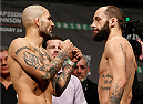 STOCKHOLM, SWEDEN - JANUARY 23:  (L-R) Opponents Akira Corassani of Sweden and Sam Sicilia of the United States face off during the UFC Fight Night Weigh-ins at the Hovet Arena on January 23, 2015 in Stockholm, Sweden. (Photo by Josh Hedges/Zuffa LLC/Zuffa LLC via Getty Images)