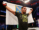 STOCKHOLM, SWEDEN - JANUARY 24:  Mirsad Bektic of Bosnia celebrates after his unanimous-decision victory over Paul Redmond of Ireland in their featherweight bout during the UFC Fight Night event at the Tele2 Arena on January 24, 2015 in Stockholm, Sweden. (Photo by Josh Hedges/Zuffa LLC/Zuffa LLC via Getty Images)