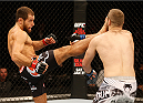 STOCKHOLM, SWEDEN - JANUARY 24:  (L-R) Mairbek Taisumov of Russia kicks Tony Christodoulou of Greece in their lightweight bout during the UFC Fight Night event at the Tele2 Arena on January 24, 2015 in Stockholm, Sweden. (Photo by Josh Hedges/Zuffa LLC/Zuffa LLC via Getty Images)