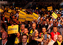 STOCKHOLM, SWEDEN - JANUARY 24:  Fans cheer in support of Alexander Gustafsson of Sweden before his light heavyweight bout against Anthony Johnson of the United States during the UFC Fight Night event at the Tele2 Arena on January 24, 2015 in Stockholm, Sweden. (Photo by Josh Hedges/Zuffa LLC/Zuffa LLC via Getty Images)