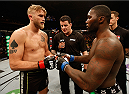 STOCKHOLM, SWEDEN - JANUARY 24:  (L-R) Opponents Alexander Gustafsson of Sweden and Anthony Johnson of the United States face off before their light heavyweight bout during the UFC Fight Night event at the Tele2 Arena on January 24, 2015 in Stockholm, Sweden. (Photo by Josh Hedges/Zuffa LLC/Zuffa LLC via Getty Images)