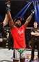 STOCKHOLM, SWEDEN - JANUARY 24:  Anthony Johnson of the United States celebrates after his knockout victory over Alexander Gustafsson of Sweden in their light heavyweight bout during the UFC Fight Night event at the Tele2 Arena on January 24, 2015 in Stockholm, Sweden. (Photo by Josh Hedges/Zuffa LLC/Zuffa LLC via Getty Images)